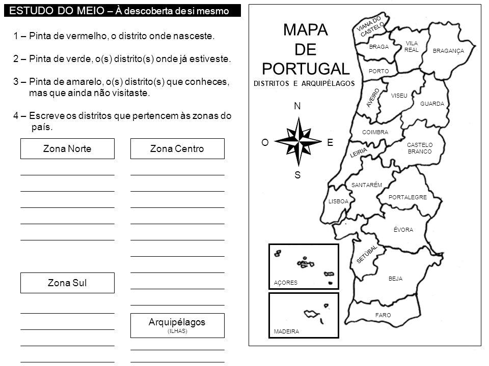 mapa de portugal e arquipelagos MAPA DE PORTUGAL ESTUDO DO MEIO – À descoberta de si mesmo   ppt  mapa de portugal e arquipelagos