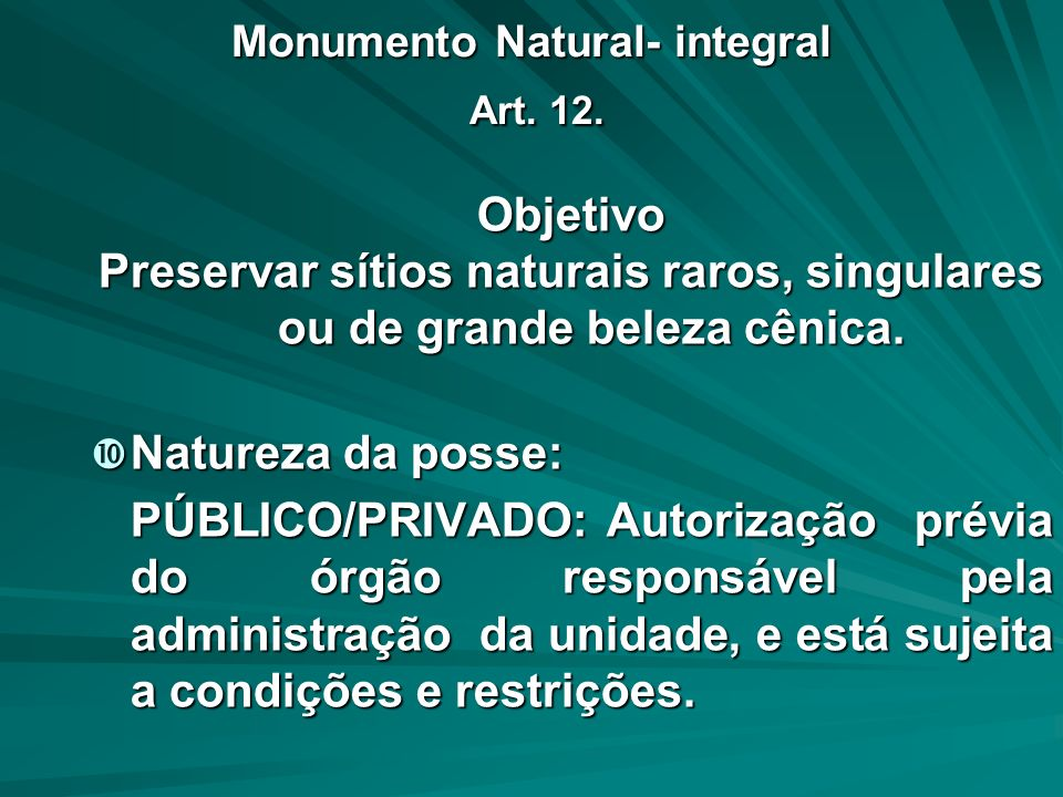 Monumento Natural- integral Art. 12.