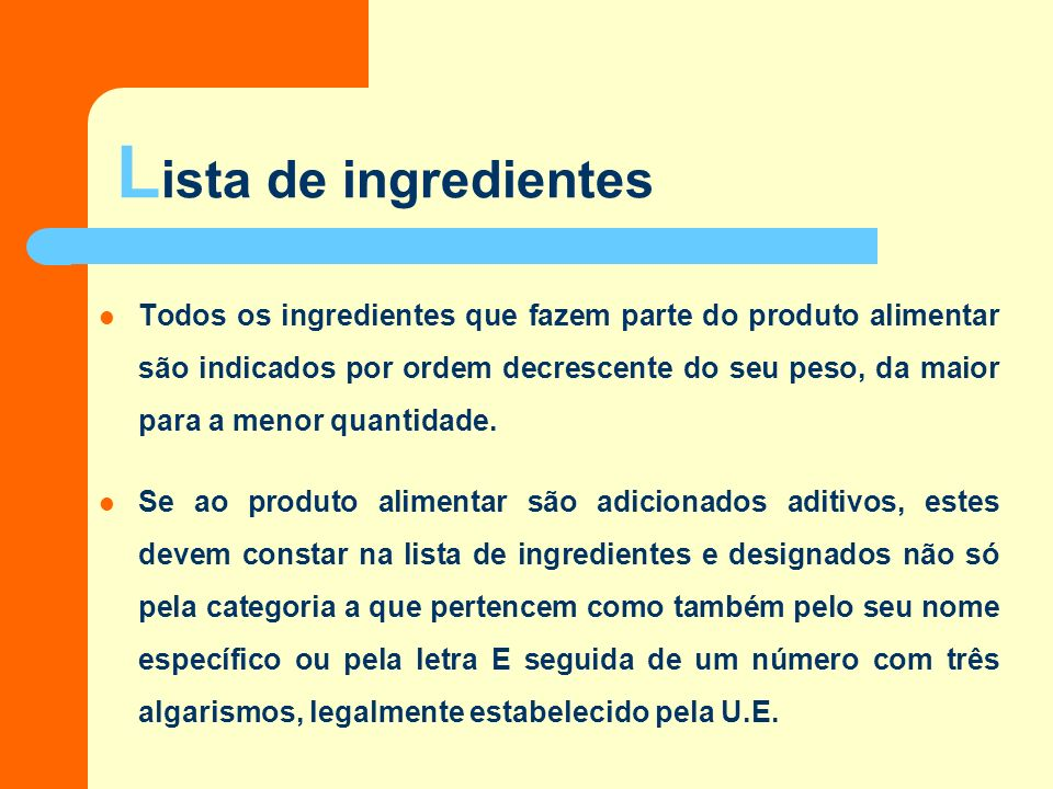 Lista de ingredientes