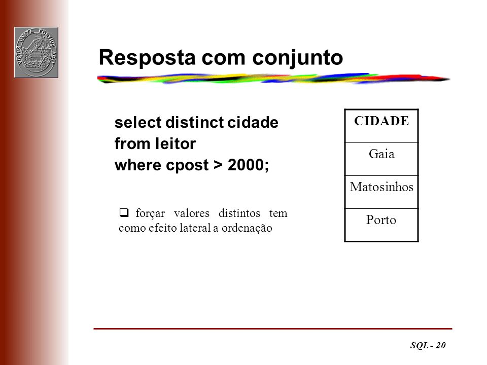 Resposta com conjunto select distinct cidade from leitor