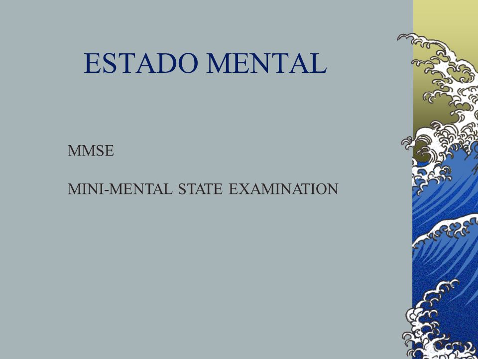 ESTADO MENTAL MMSE MINI-MENTAL STATE EXAMINATION