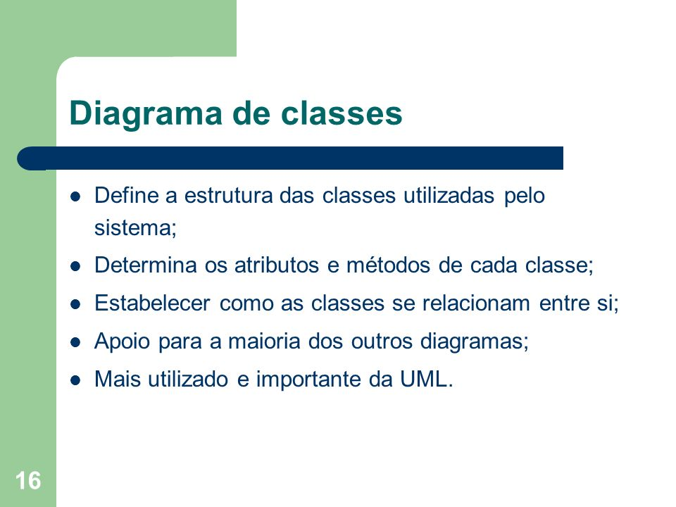 Diagrama de classes Define a estrutura das classes utilizadas pelo sistema; Determina os atributos e métodos de cada classe;