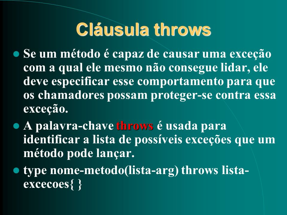 Cláusula throws