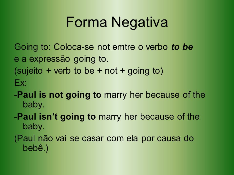Forma Negativa Going to: Coloca-se not emtre o verbo to be