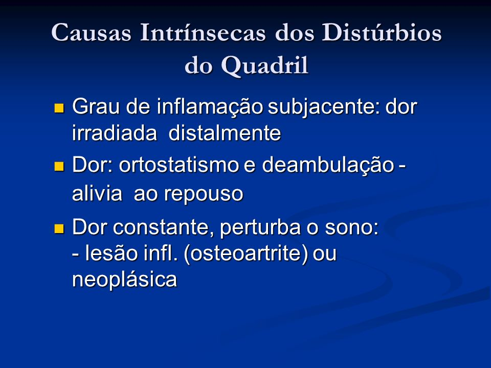 Causas Intrínsecas dos Distúrbios do Quadril