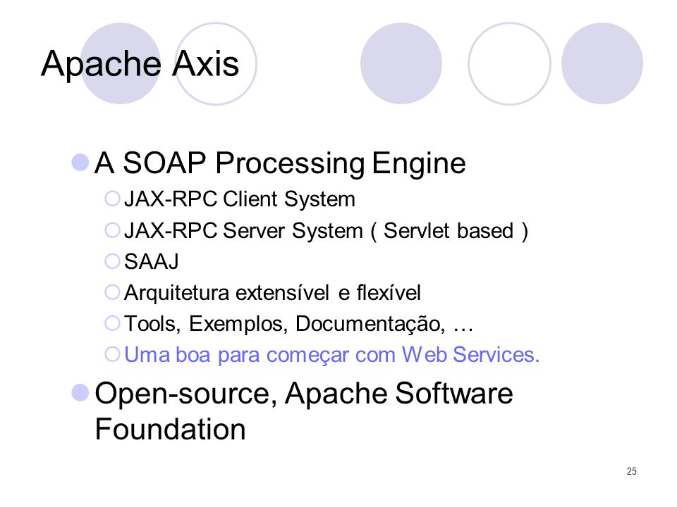 Apache Axis A SOAP Processing Engine