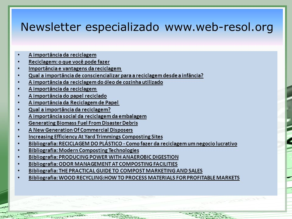 Newsletter especializado