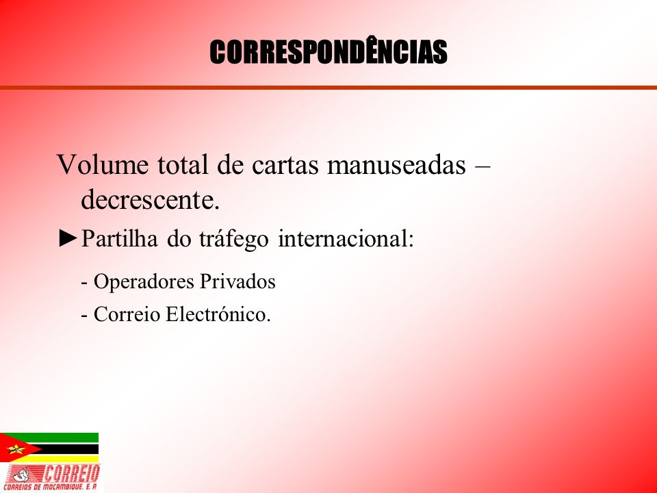 Volume total de cartas manuseadas – decrescente.