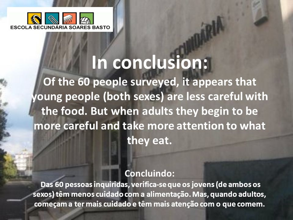 In conclusion: Of the 60 people surveyed, it appears that young people (both sexes) are less careful with the food.