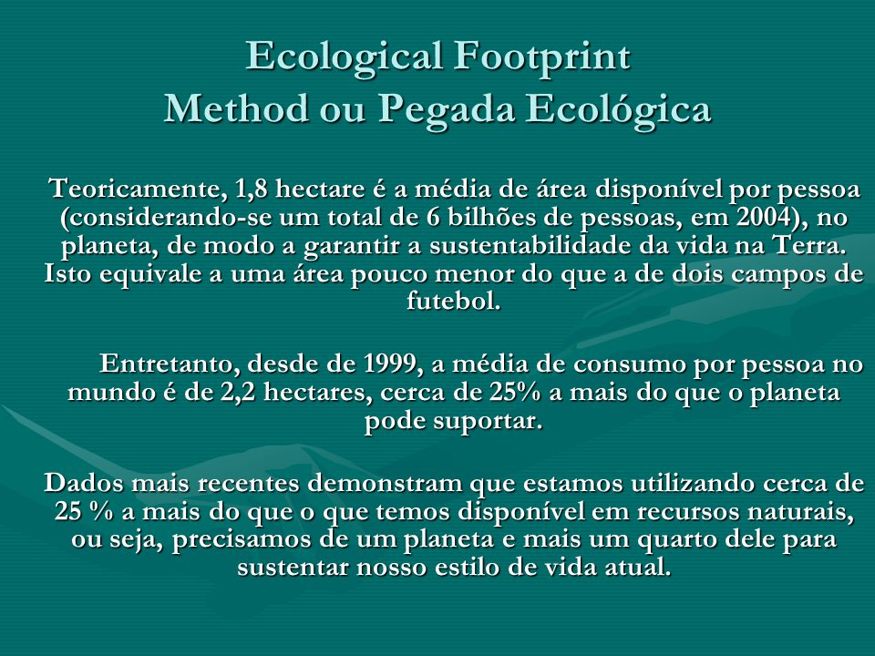 Ecological Footprint Method ou Pegada Ecológica
