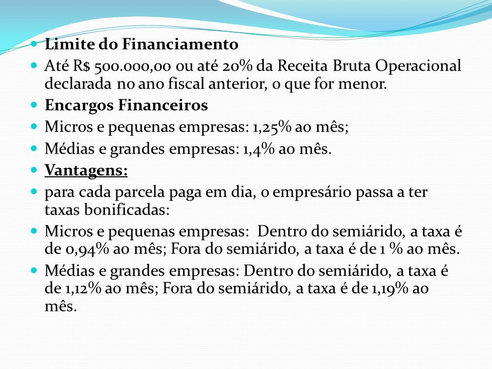 Limite do Financiamento