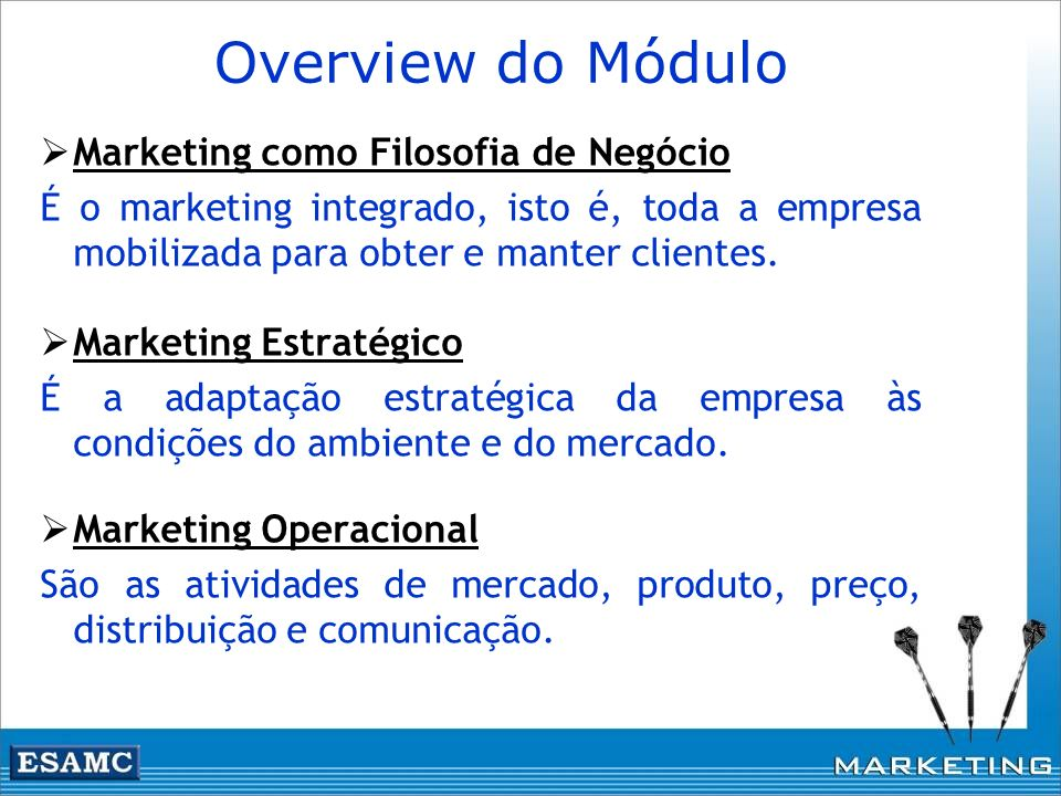 Overview do Módulo Marketing como Filosofia de Negócio