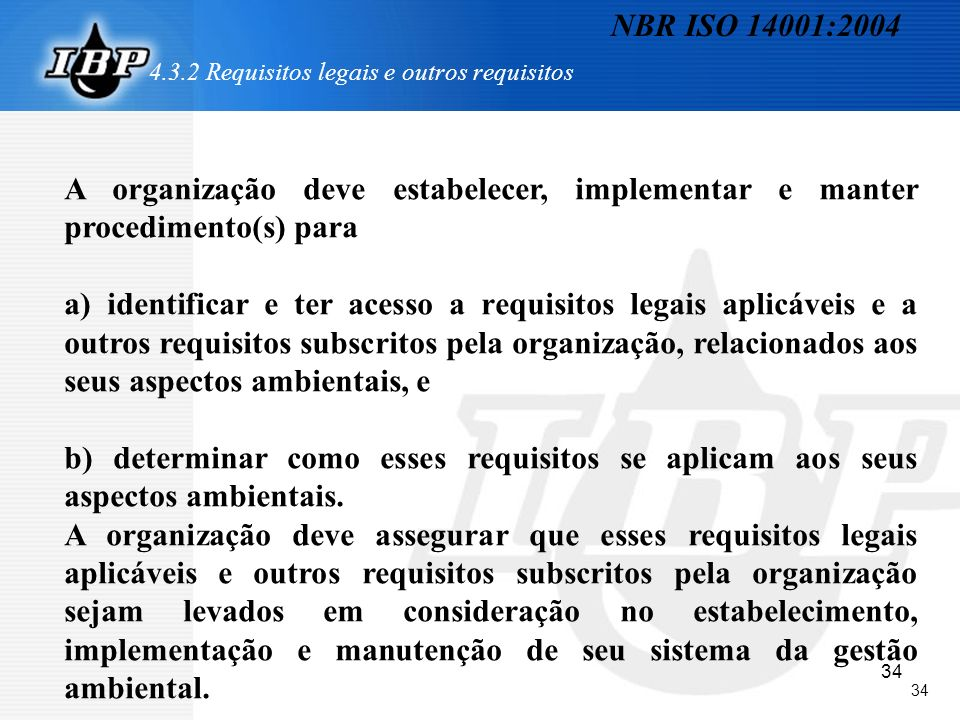 4.3.2 Requisitos legais e outros requisitos