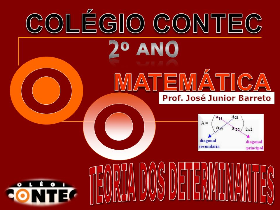 Prof. José Junior Barreto TEORIA DOS DETERMINANTES