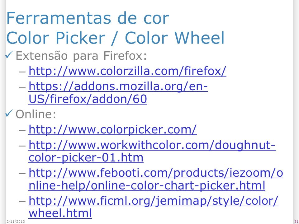 Ferramentas de cor Color Picker / Color Wheel