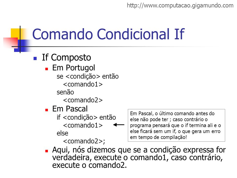 Comando Condicional If