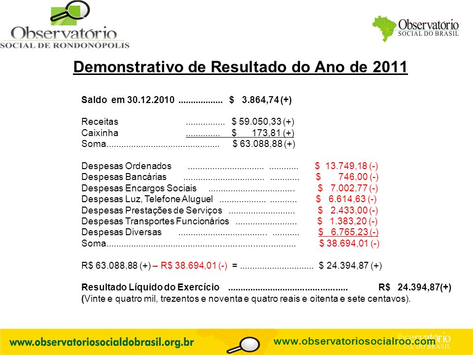 Demonstrativo de Resultado do Ano de 2011