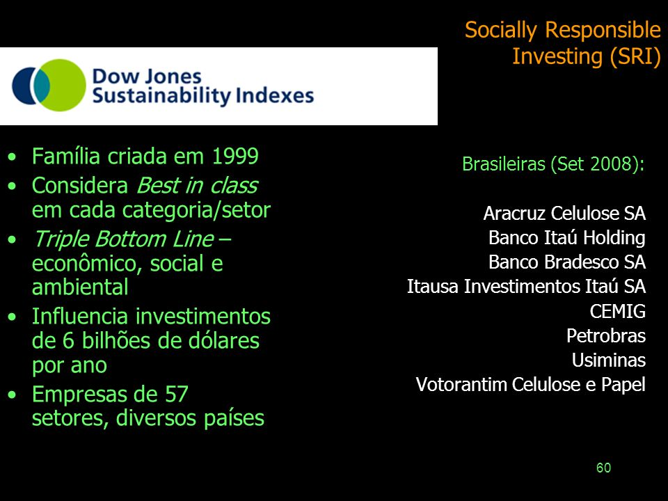 Socially Responsible Investing (SRI)