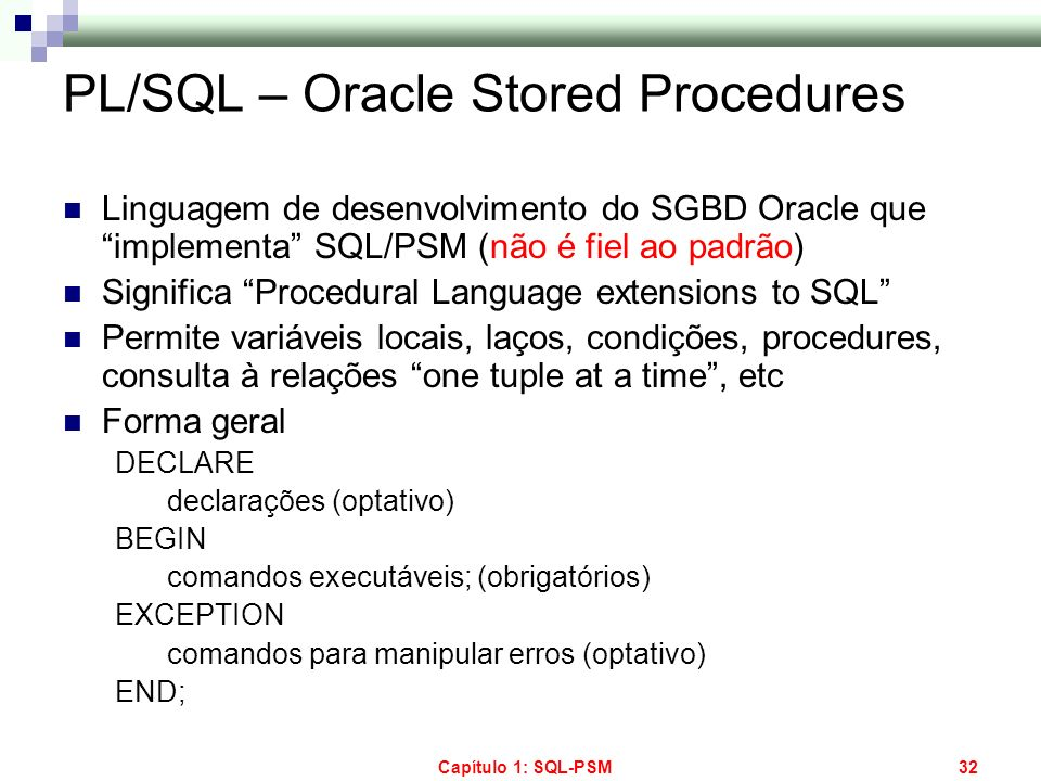 PL/SQL – Oracle Stored Procedures