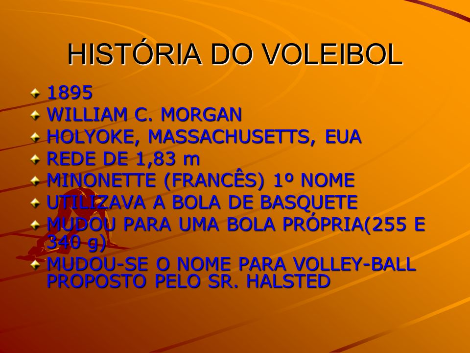 HISTÓRIA DO VOLEIBOL 1895 WILLIAM C. MORGAN