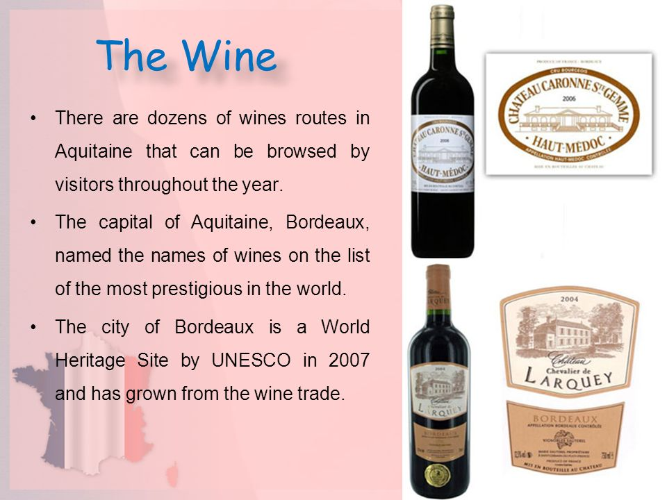 The Wine There are dozens of wines routes in Aquitaine that can be browsed by visitors throughout the year.