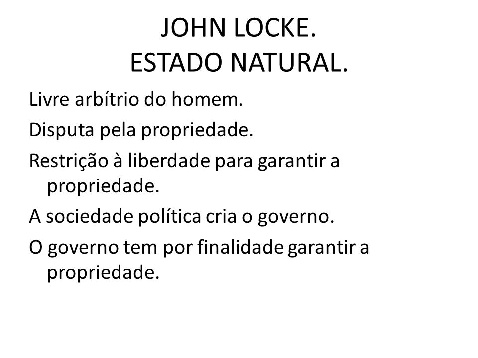 JOHN LOCKE. ESTADO NATURAL.