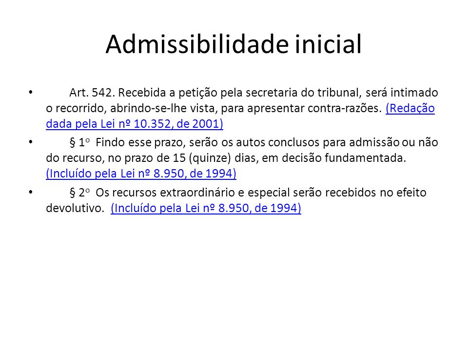 Admissibilidade inicial
