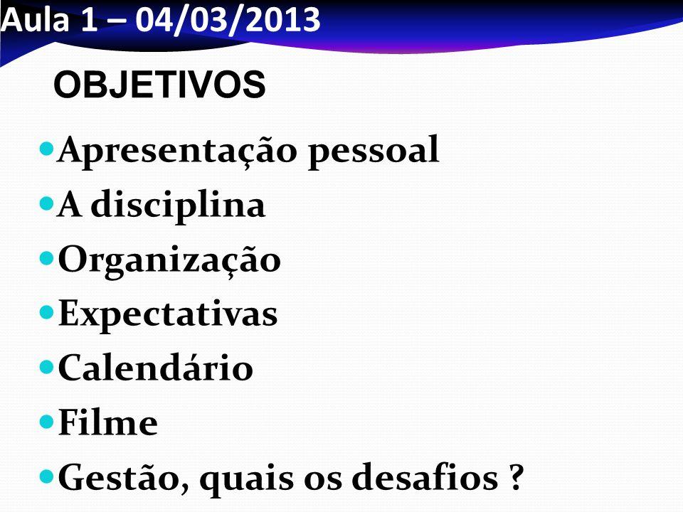 e6569e672940e Aula 1 – 04 03 2013 OBJETIVOS. Apresentação pessoal. A disciplina.