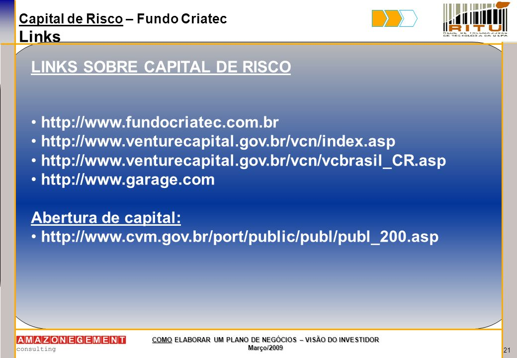 LINKS SOBRE CAPITAL DE RISCO