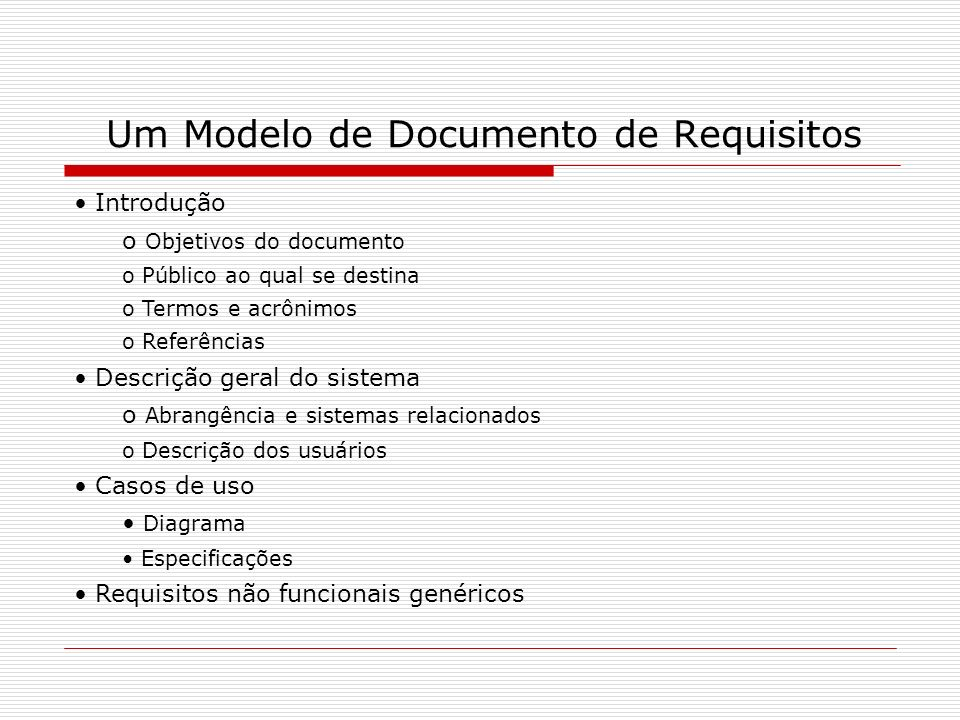 Um Modelo de Documento de Requisitos