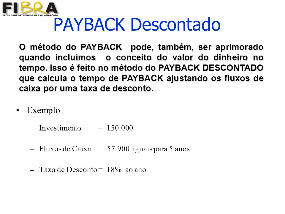 PAYBACK Descontado Exemplo