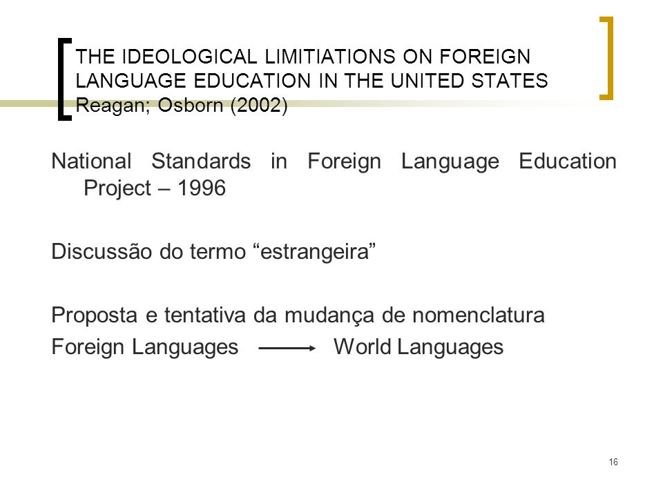 National Standards in Foreign Language Education Project – 1996