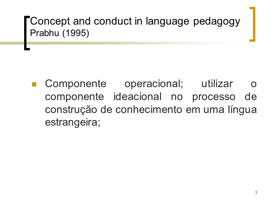 Concept and conduct in language pedagogy Prabhu (1995)