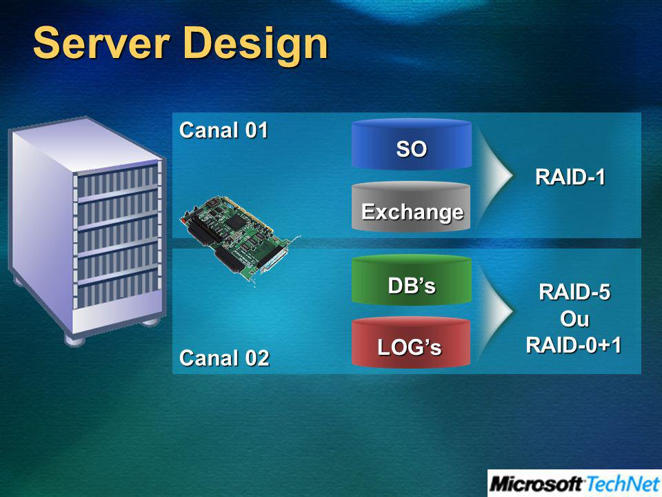 Server Design Canal 01 SO RAID-1 Exchange DB's RAID-5 Ou Canal 02
