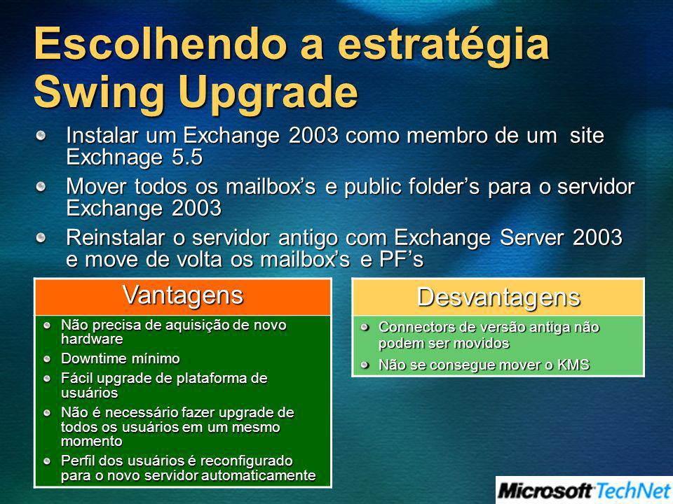 Escolhendo a estratégia Swing Upgrade