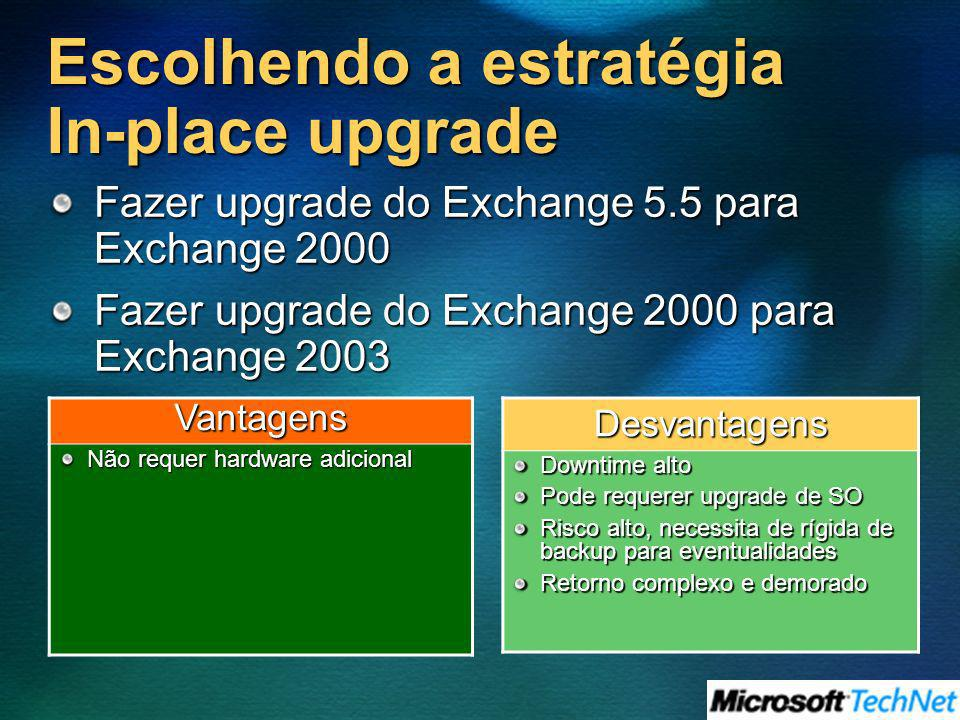 Escolhendo a estratégia In-place upgrade