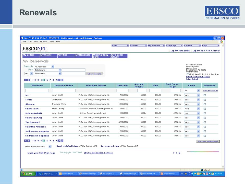 Renewals Returns list of renewals based on search criteria.