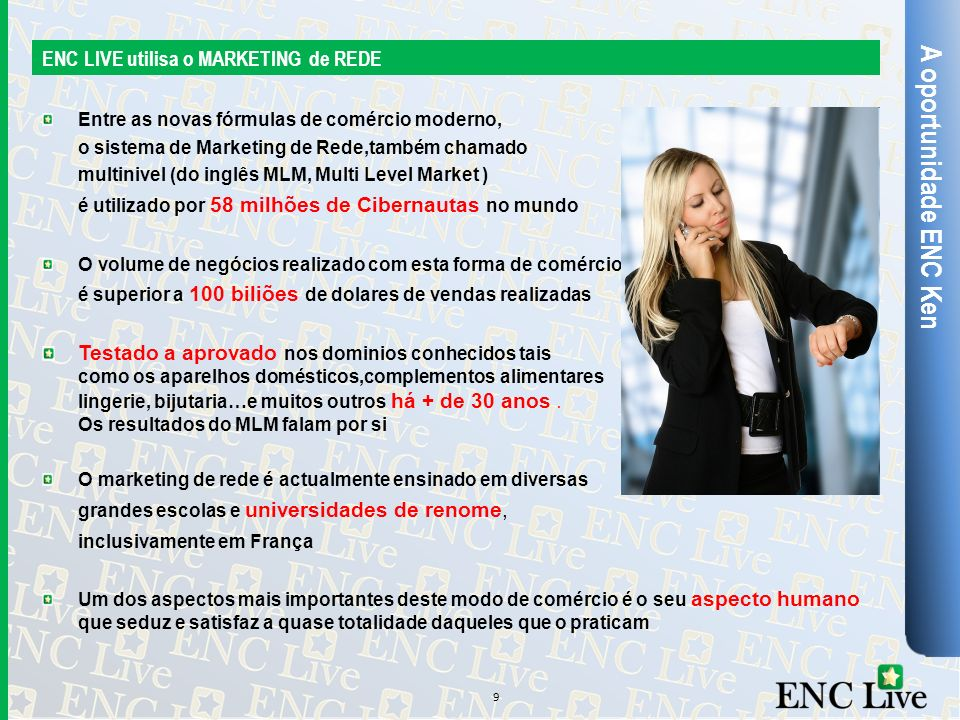 A oportunidade ENC Ken ENC LIVE utilisa o MARKETING de REDE