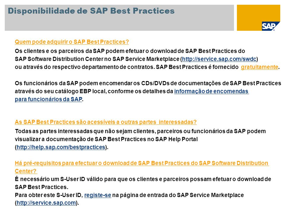 Disponibilidade de SAP Best Practices