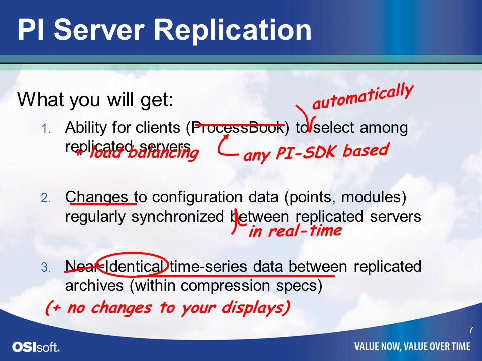 PI Server Replication What you will get: automatically