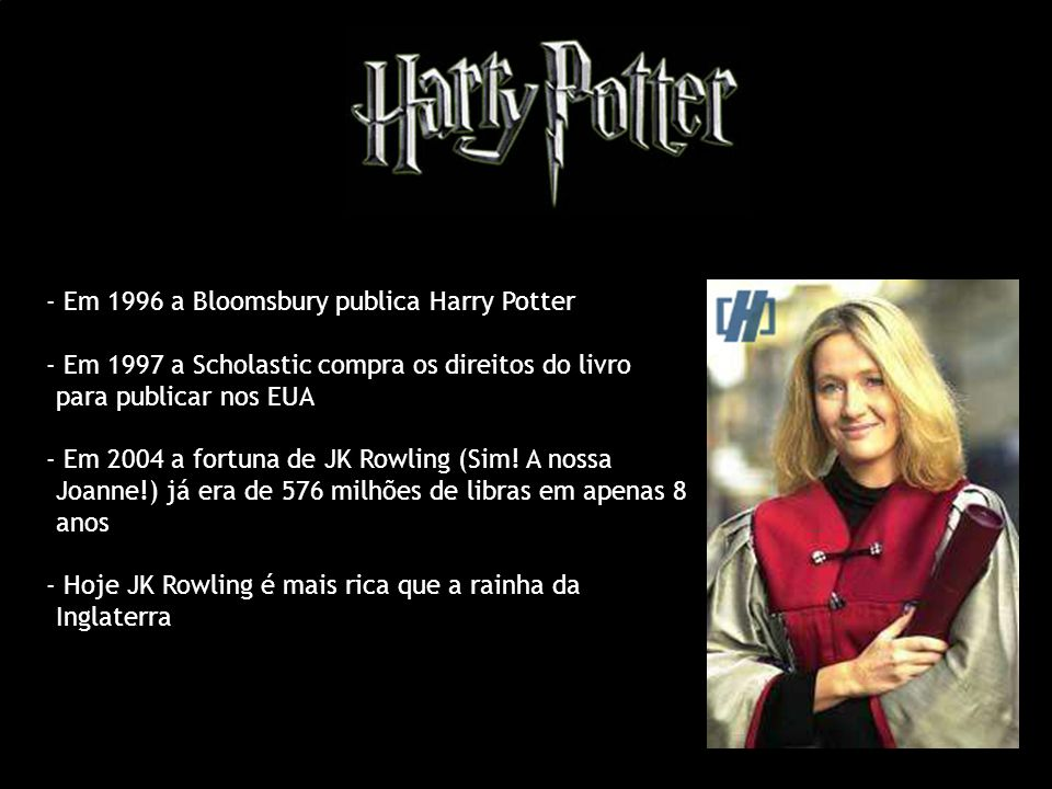 - Em 1996 a Bloomsbury publica Harry Potter