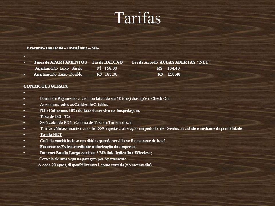 Tarifas Executive Inn Hotel – Uberlândia – MG