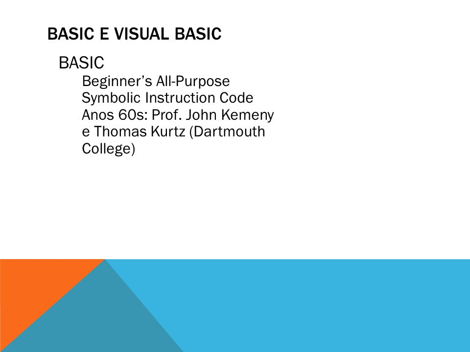Basic e visual basic BASIC