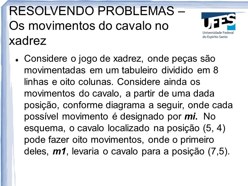 RESOLVENDO PROBLEMAS – Os movimentos do cavalo no xadrez