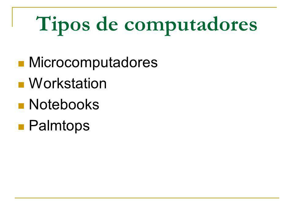 Tipos de computadores Microcomputadores Workstation Notebooks Palmtops