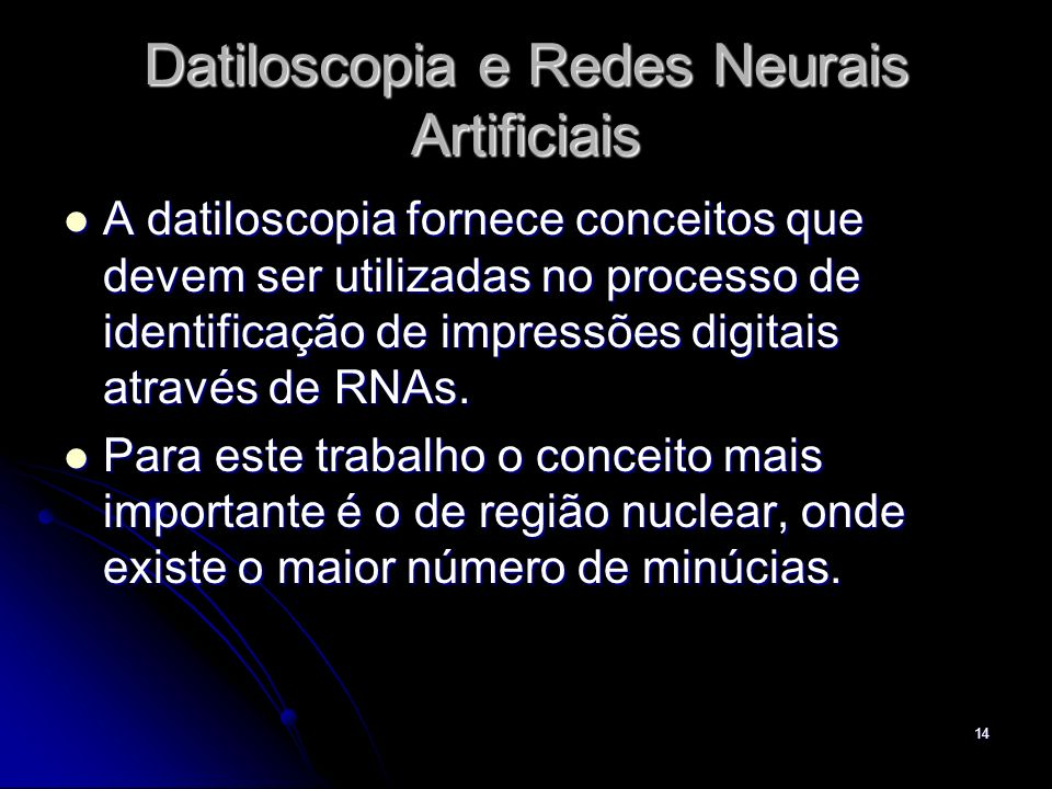 Datiloscopia e Redes Neurais Artificiais