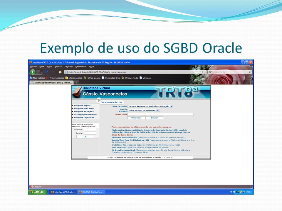 Exemplo de uso do SGBD Oracle