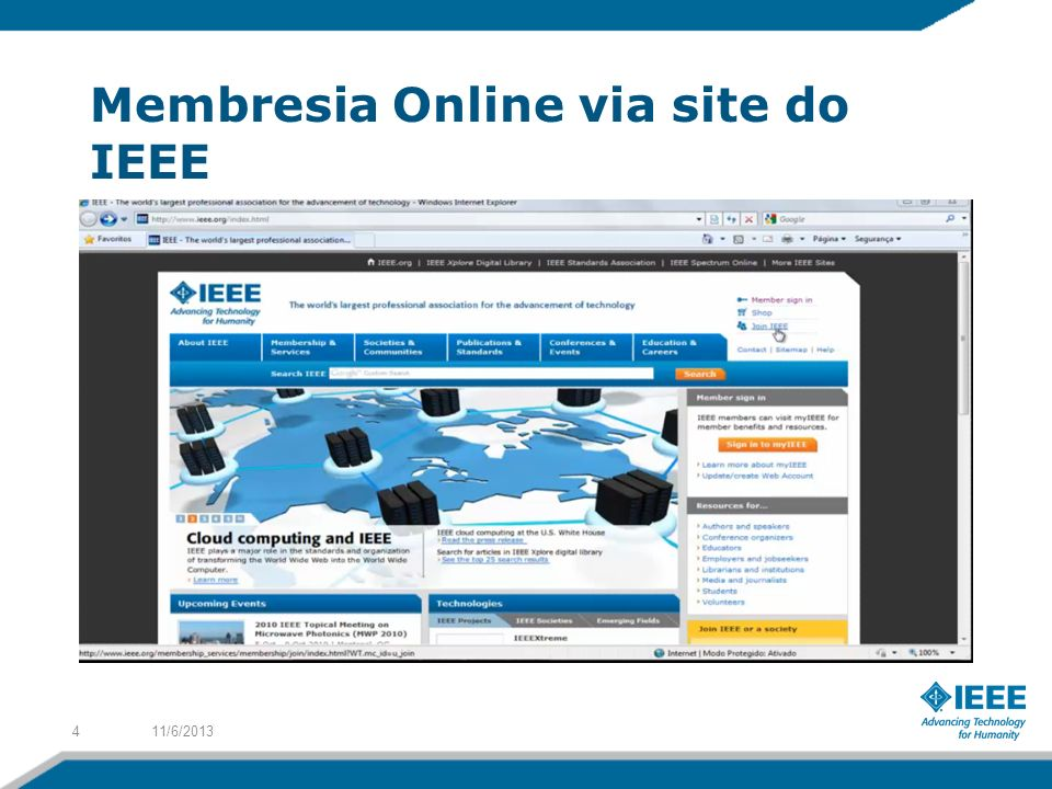 Membresia Online via site do IEEE