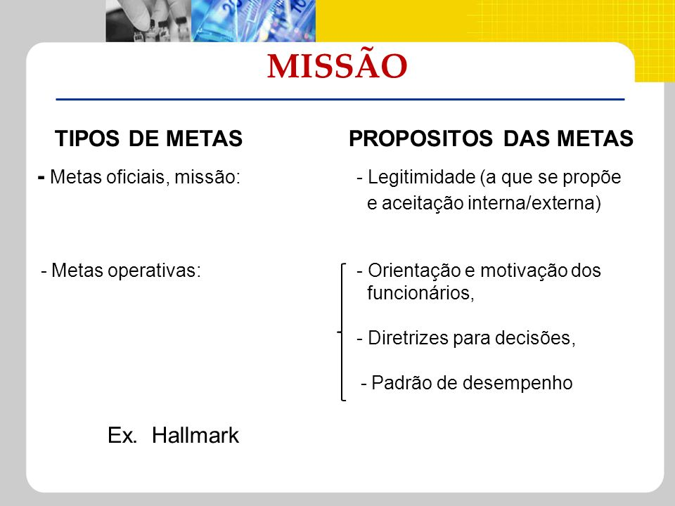 TIPOS DE METAS PROPOSITOS DAS METAS