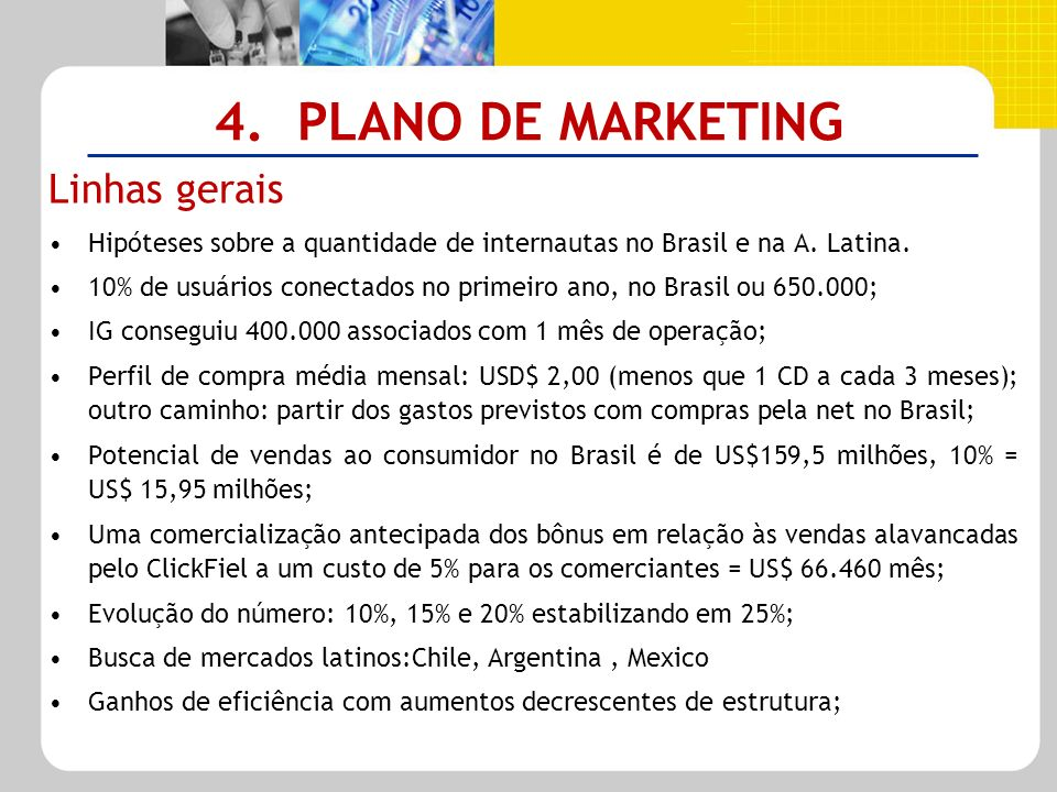 4. PLANO DE MARKETING Linhas gerais